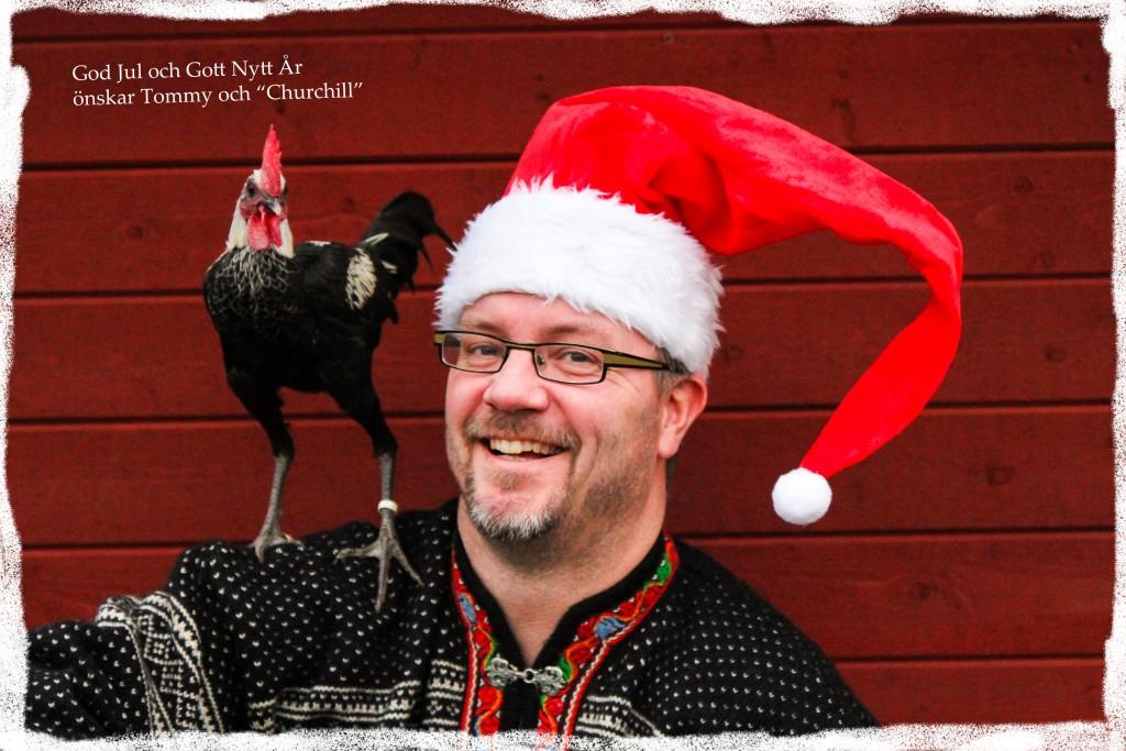"""God Jul från Tommy och den moderna engelska stridstuppen """"Chuchill"""". Foto: Marcus Stokka"""
